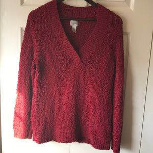 Chico's red vneck sparkly sweater